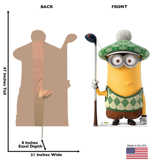 Life-size cardboard standee of Golfer Minion from The Minions with back and front dimensions.