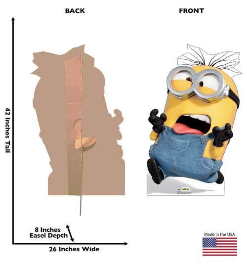 Life-size cardboard standee of Dave from The Minions with back and front dimensions.