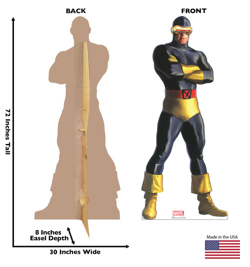 Life-size cardboard standee of Cyclops from Marvels Timeless Collection with back and front dimensions.