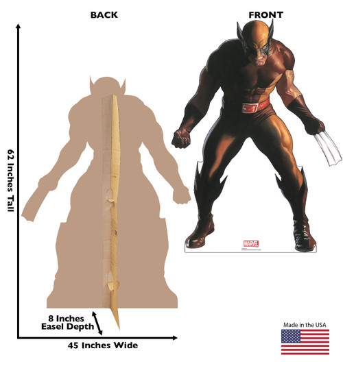 Life-size cardboard standee of Wolverine from Marvels Timeless Collection with back and front dimensions.