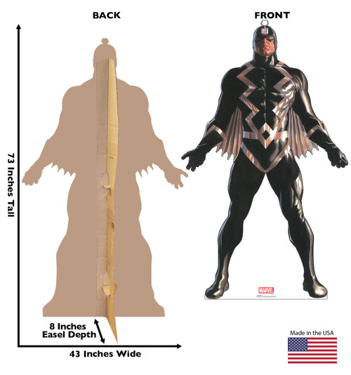 Life-size cardboard standee of Black Bolt from Marvels Timeless Collection with back and front dimensions.