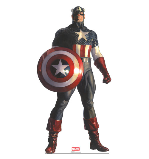 Life-size cardboard standee of Captain America from Marvels Timeless Collections.