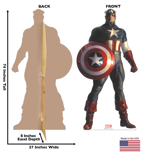 Life-size cardboard standee of Captain America from Marvels Timeless Collection with back and front dimensions.