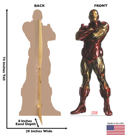 Life-size cardboard standee of Iron Man from Marvels Timeless Collection with back and front dimensions.