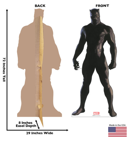 Life-size cardboard standee of Black Panther from Marvels Timeless Collection with back and front dimensions.