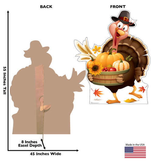 Life-size cardboard standee of a Festive Turkey with back and front dimensions.
