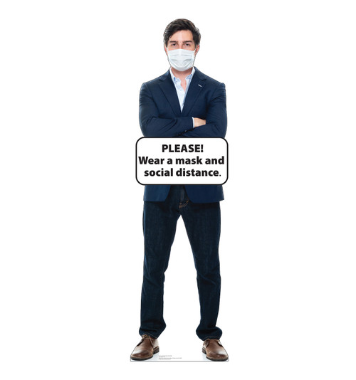 Life-size cardboard standee of Social Distance Mask Standee Male.