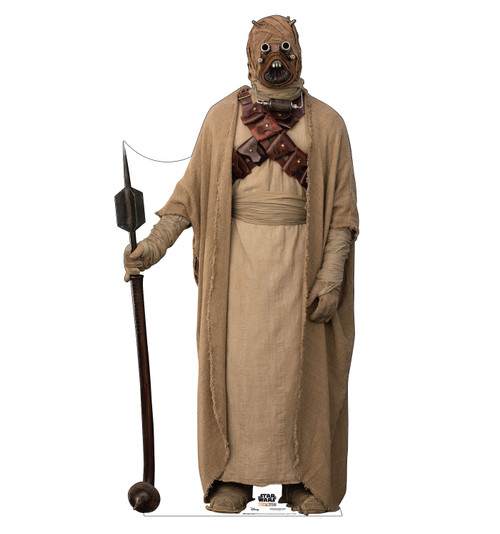 Life-size cardboard standee of a Tusken Raider from the Mandalorian season 2.