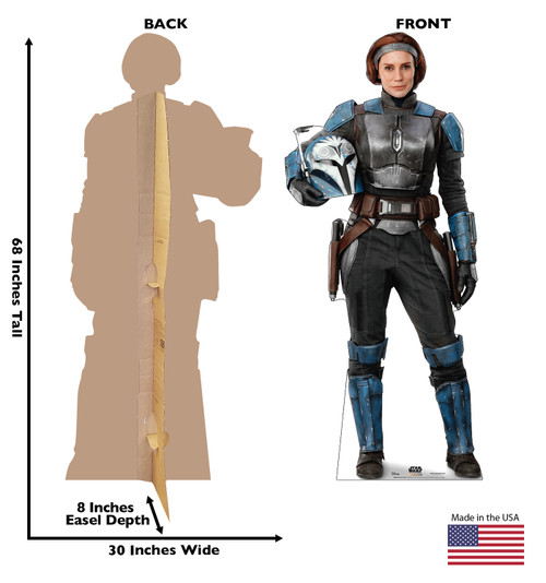 Life-size cardboard standee of Bo-Katan Kryze from the Mandalorian season 2 with back and front dimensions.