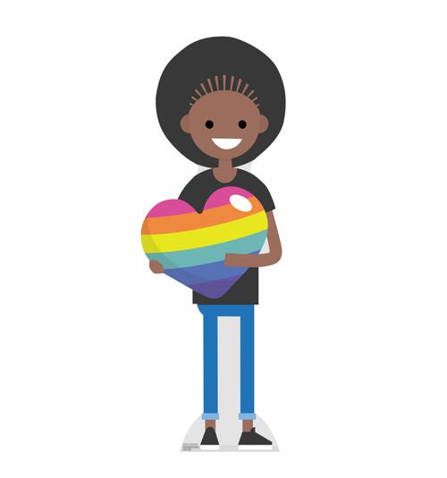 Life-size cardboard Female Cartoon Pride Standee.