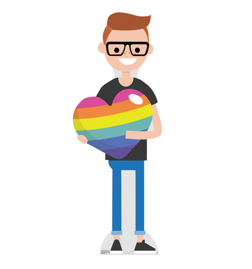 Life-size cardboard Male Cartoon Pride Standee.