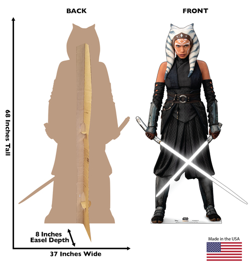 Life-size cardboard standee of Ahsoka Tano from the Mandalorian season 2 with back and front dimensions.