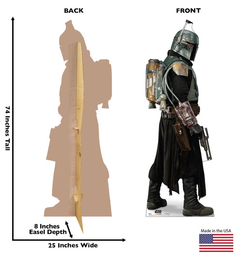 Life-size cardboard standee of Boba Fett Armor  from the Mandalorian season 2 with back and front dimensions.