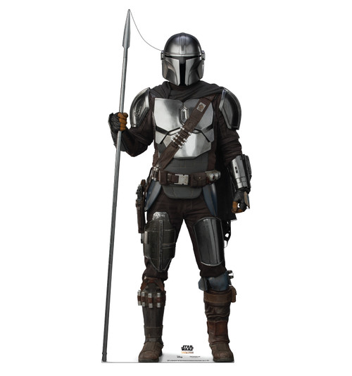 Life-size cardboard standee of The Mandalorian with Spear from the Mandalorian season 2.