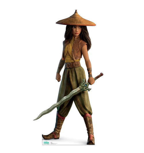 Lifes-size cardboard standee of Raya from Disney's Raya and the Last Dragon.