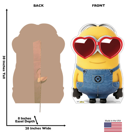Life-size cardboard standee of Bob Heart Sunglasses with back and front dimensions.