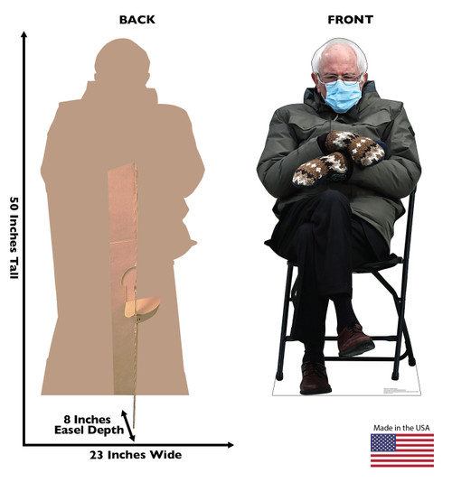 Life-size cardboard standee of Bernie Sanders meme from 2020 election with back and front dimensions.