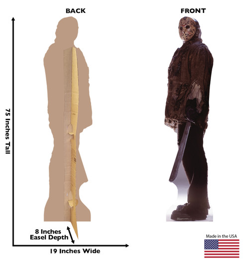 This is a life-size cardboard cutout of Jason Voorhees, the main character from the Friday the 13th series.