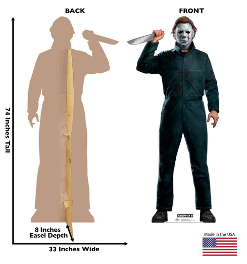 Life-size cardboard standee of Michael Myers with knife from Halloween II movie with front and back dimensions.