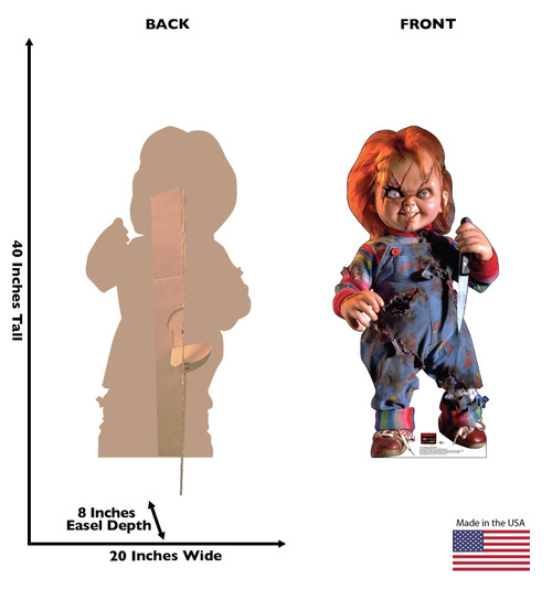 Life-size cardboard standee of Chucky with knife with back and front dimensions.