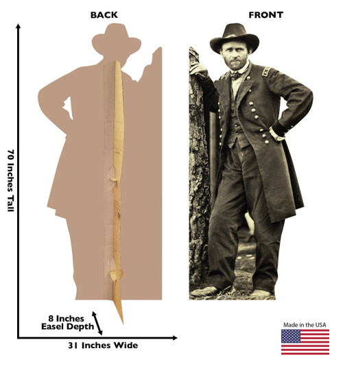 Life-size cardboard standee of Ulysses S. Grant with back and front dimensions.