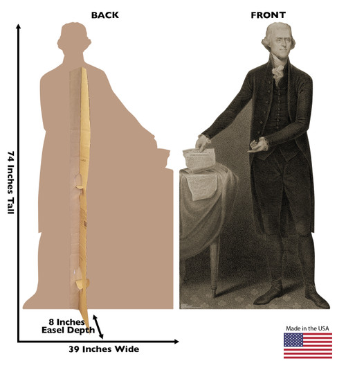 Life-size cardboard standee of Thomas Jefferson with back and front dimensions.