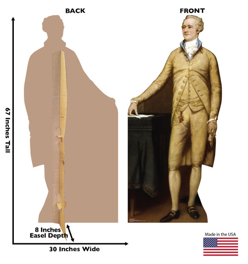 Life-size cardboard standee of Alexander Hamilton with back and front dimensions.