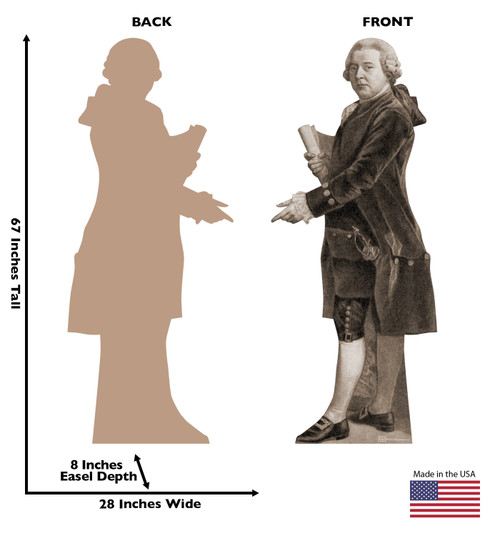 Life-size cardboard standee of John Adams with back and front dimensions.