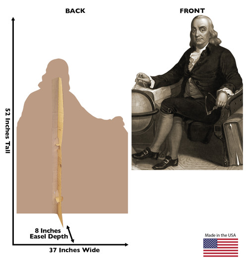 Life-size cardboard standee of Benjamin Franklin with back and front dimensions.
