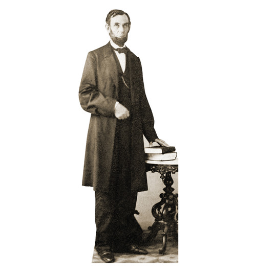 Life-size cardboard standee of Abraham Lincoln.