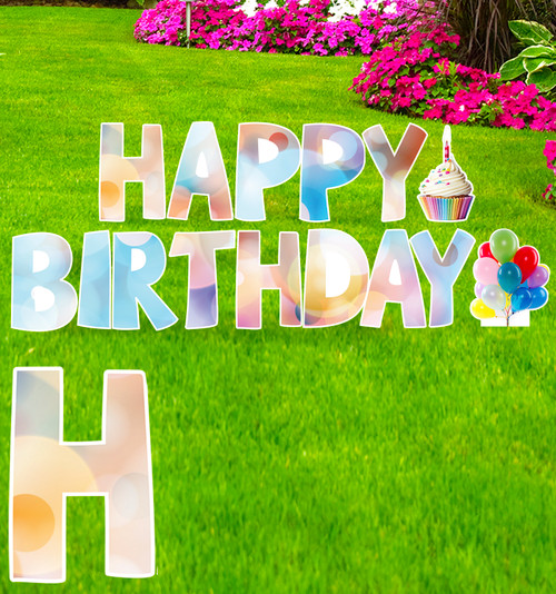 Coroplast colored circles Happy Birthday yard signs with background.