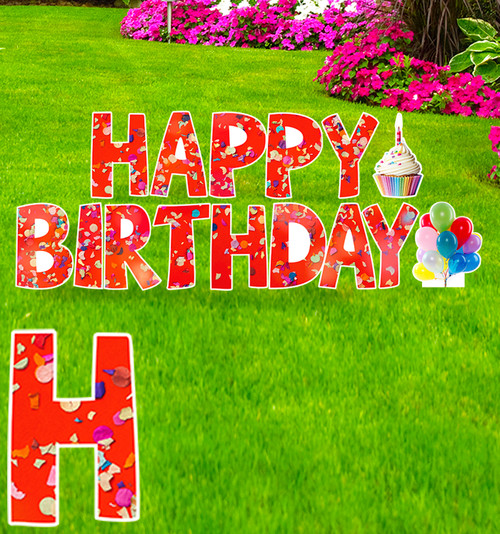 Coroplast Confetti Happy Birthday yard signs with background.