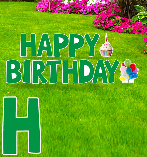 Coroplast green Paper Happy Birthday yard signs with background.