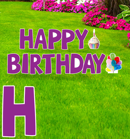 Coroplast purple Paper Happy Birthday yard signs with background.