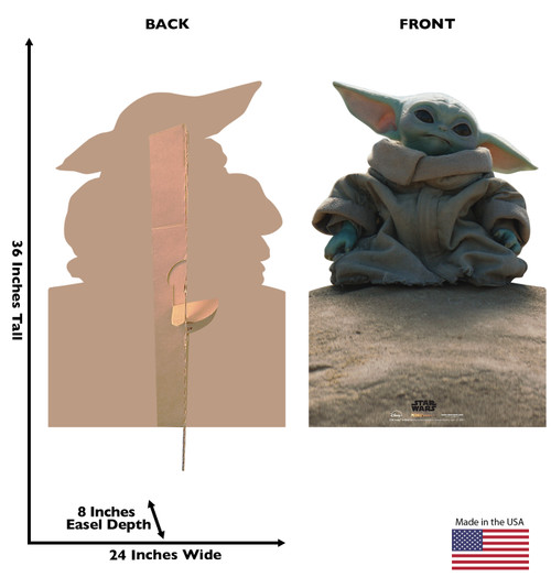 Life-size cardboard standee of Grogu on Rock from the Mandalorian season 2 with back and front dimensions.
