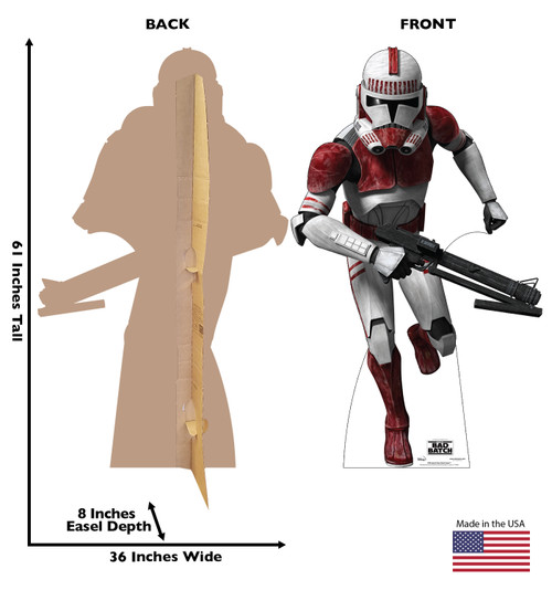 Life-size cardboard standee of Imperial Clone Shock Trooper  from The Bad Batch on Disney+ with front and back dimensions.