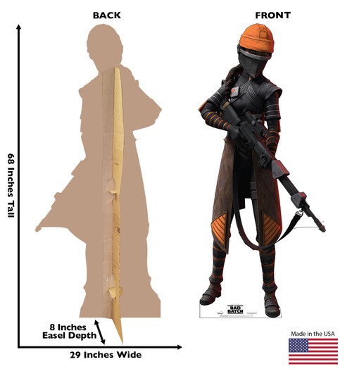 Life-size cardboard standee of Fennec Shand from The Bad Batch on Disney+ with front and back dimensions.