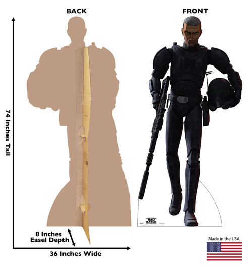 Life-size cardboard standee of Crosshair (Imperial) from The Bad Batch on Disney+ with front and back dimensions.