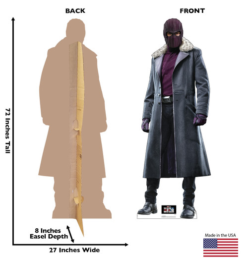 Life-size cardboard standee of Baron Zemo with front and back dimensions.