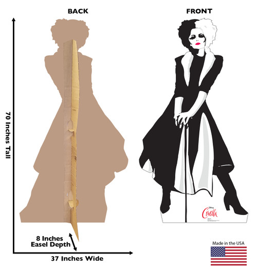Life-size cardboard standee of Cruella from Disney+ movie Cruella with back and front dimensions.