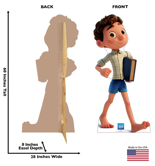 Life-size cardboard standee of Luca with front and back dimensions.