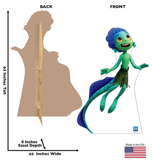 Life-size cardboard standee of Luca Sea Monster with front and back dimensions.