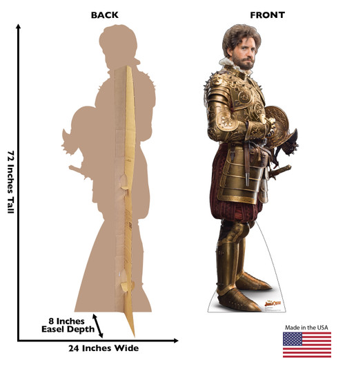 Life-size cardboard standee of Captain Aguirre from Jungle Cruise with back and front dimensions.