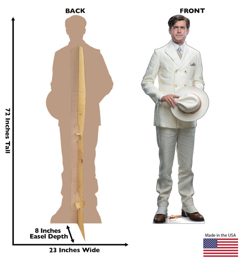 Life-size cardboard standee of MacGregor Houghton from Jungle Cruise with back and front dimensions.