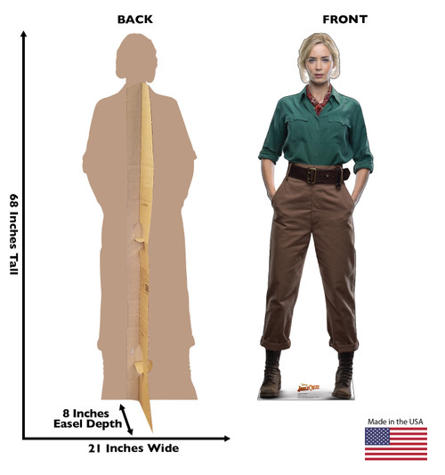 Life-size cardboard standee of Dr. Lily Houghton from Jungle Cruise with back and front dimensions.
