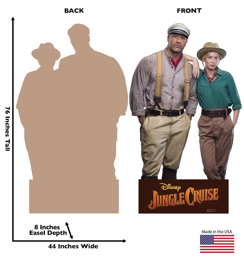 Life-size cardboard standee of Frank Wolff & Dr. Lily Houghton from Jungle Cruise with back and front dimensions.