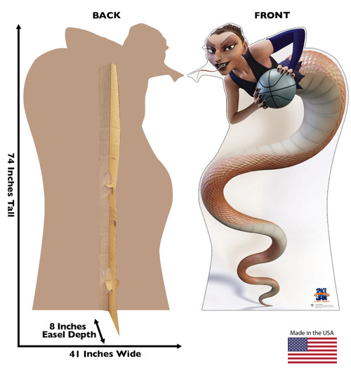 Life-size cardboard standee of White Mamba from Space Jam A New Legacy with front and back dimensions.
