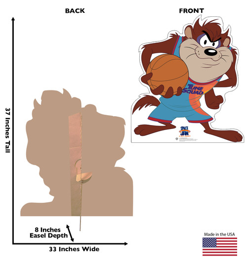 Life-size cardboard standee of Tasmanian Devil from Space Jam A New Legacy with front and back dimensions.