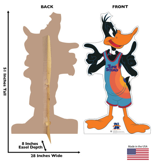Life-size cardboard standee of Daffy Duck from Space Jam A New Legacy with front and back dimensions.