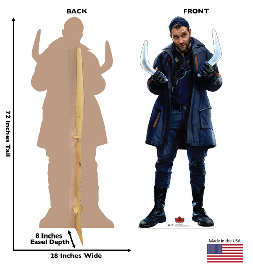 Life-size cardboard standee of Captain Boomerang from Suicide Squad 2 with front and back dimensions.
